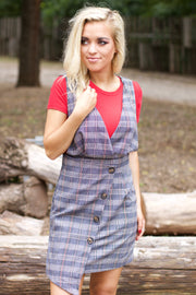 Hey Plaid Navy Dress