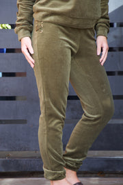Run To You Olive Velour Lace Up Jogger Pants