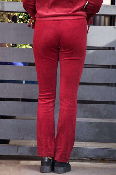 Meant For You Wine Velour Pants
