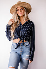 Influential Navy Front Tie Stripe Top