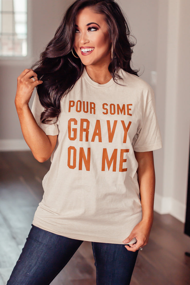 """Pour Some Gravy On Me"" Beige Tee"