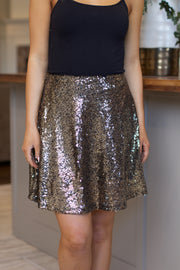 Don't Call Me Gold Sequin Skirt