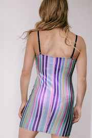 Go Getter Multi Purple Striped Bodycon Dress