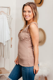 Only You Mocha Lace Detail Cami
