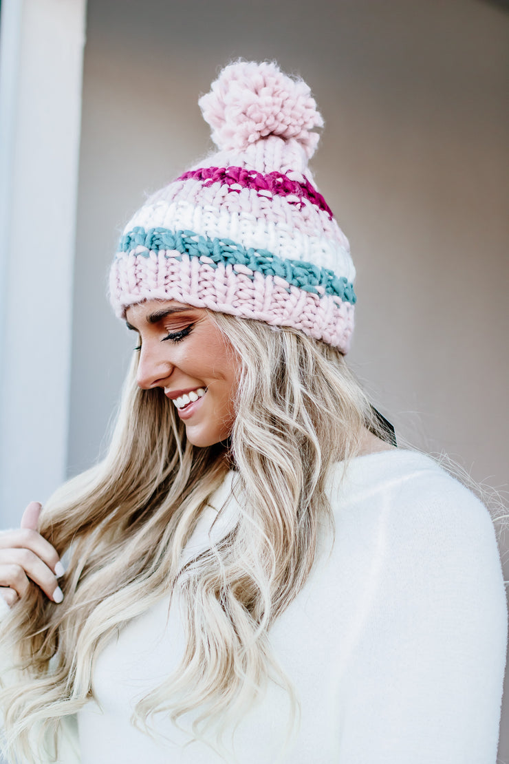 Up For Anything Pink Stripe Pom Beanie