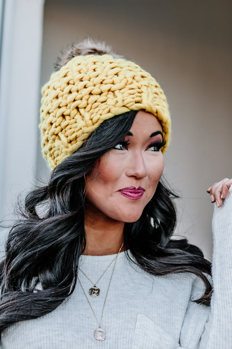 So In Love Mustard Oversized Chunky Pom Beanie