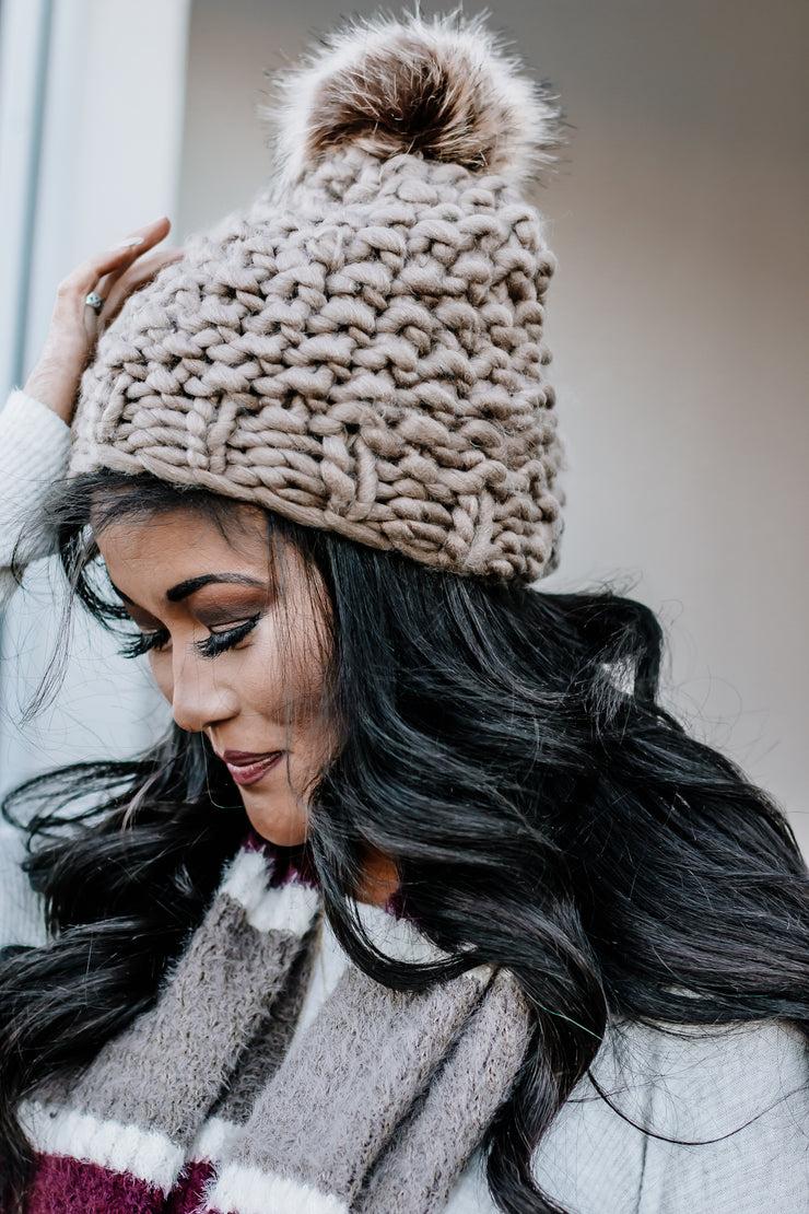 So In Love Mocha Oversized Chunky Pom Beanie