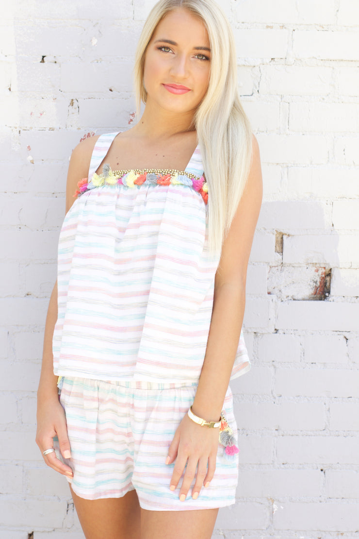 Sweet Thoughts Ivory Striped Tassel Shorts