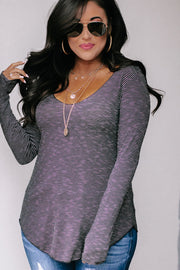 Thrill Of It Black & White Loose V-Neck Long Sleeve Top