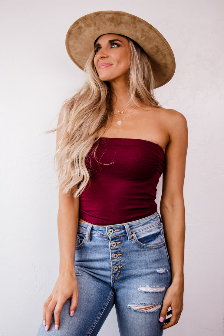 You're All Talk Burgundy Tube Top