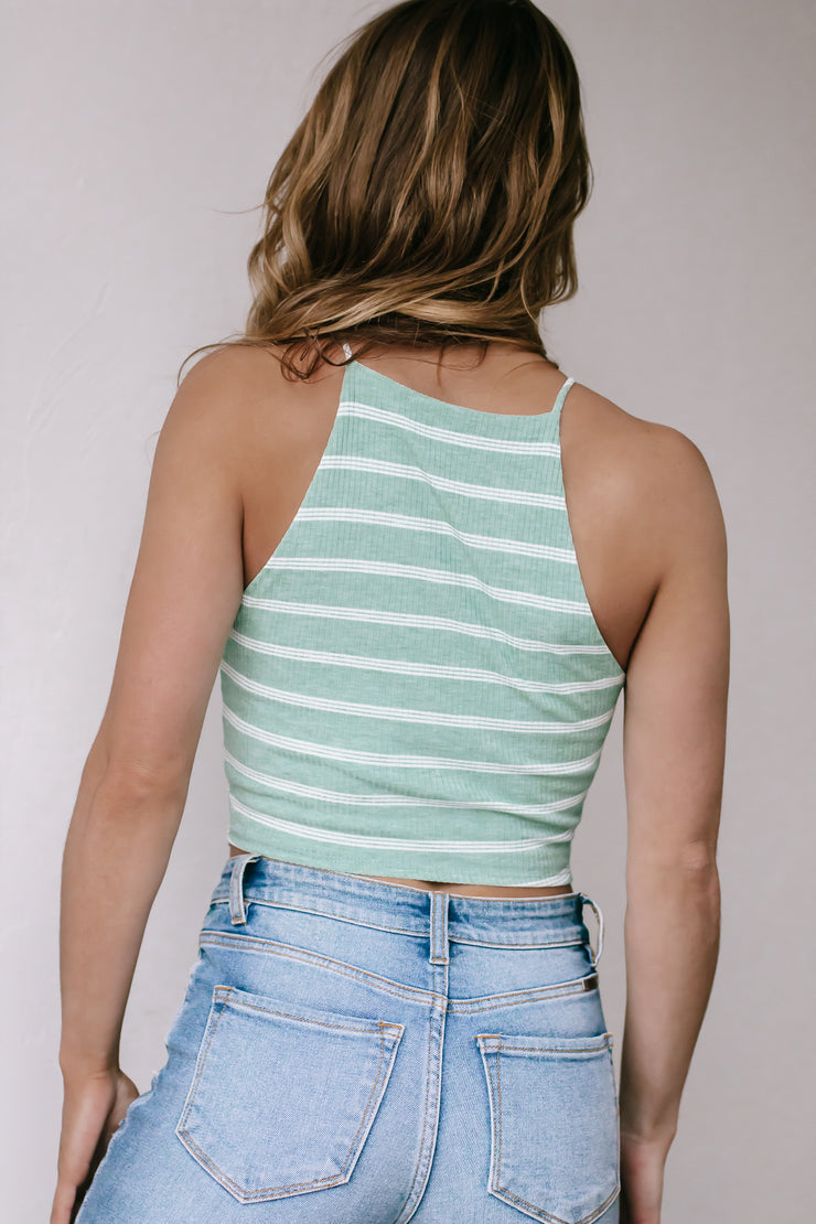 Up Your Style Basil and Ivory Striped Crop Top