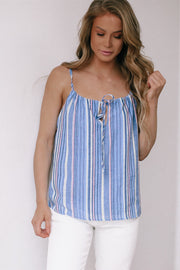 See You Around Blue Front Tie Top