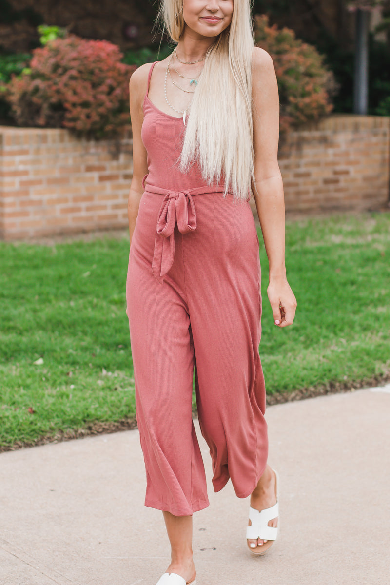 Set A Time Marsala Ribbed Jumpsuit