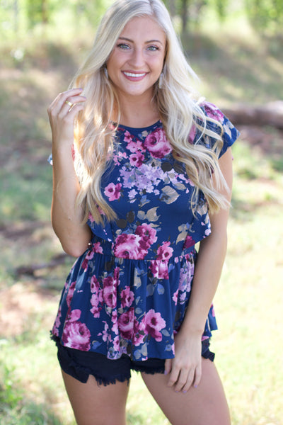 Not Like You Teal Floral Peplum Top