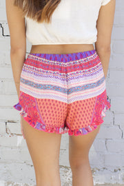 Fuchsia Printed Shorts With Drawstring