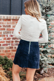 See You Now Navy Skirt with Front Side Slit
