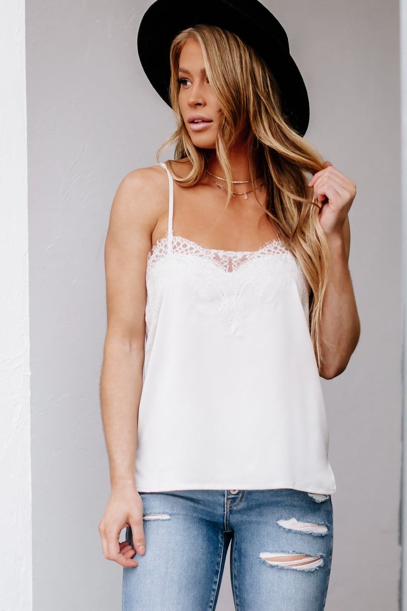 Let's Do This Cream Lace Cami