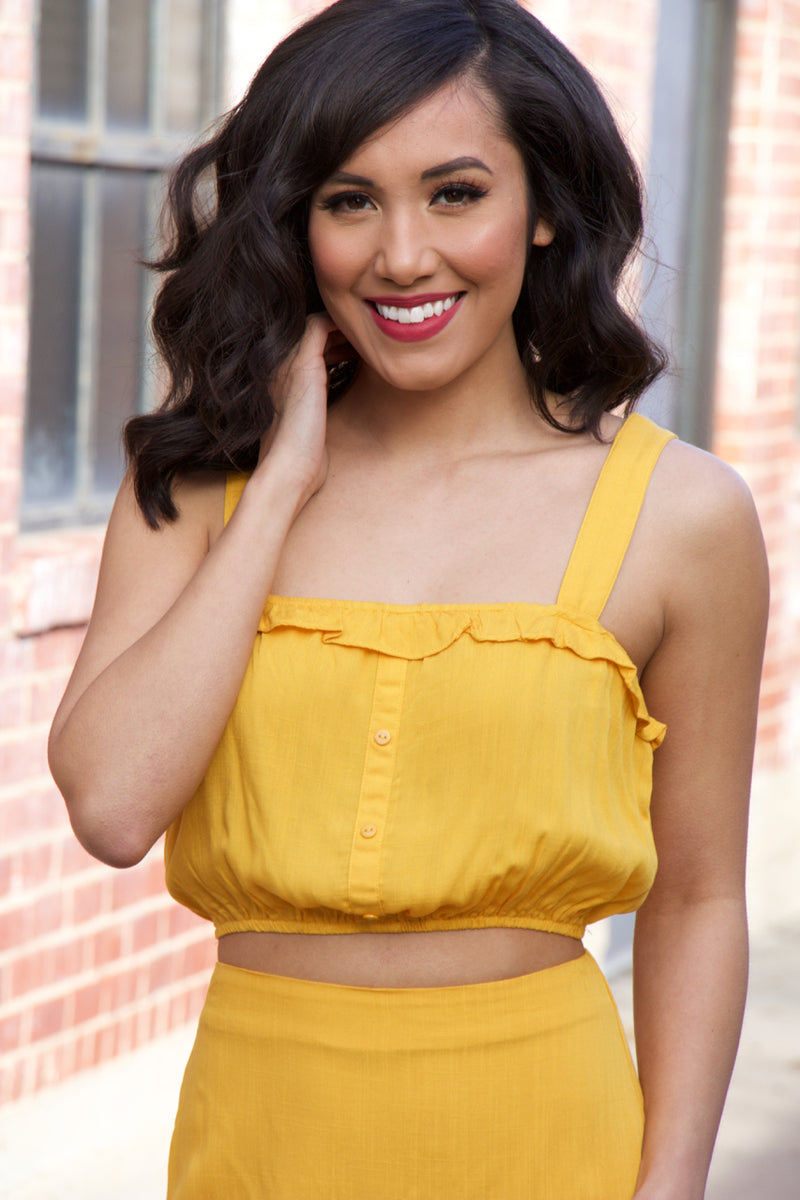 This Feeling Mustard Sleeveless Crop Top