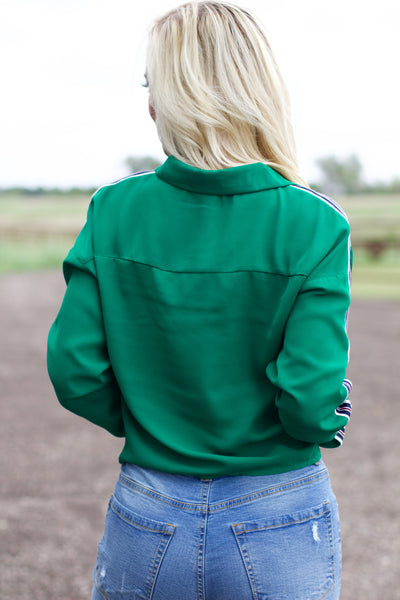 All Season Green Stripe Detail Top
