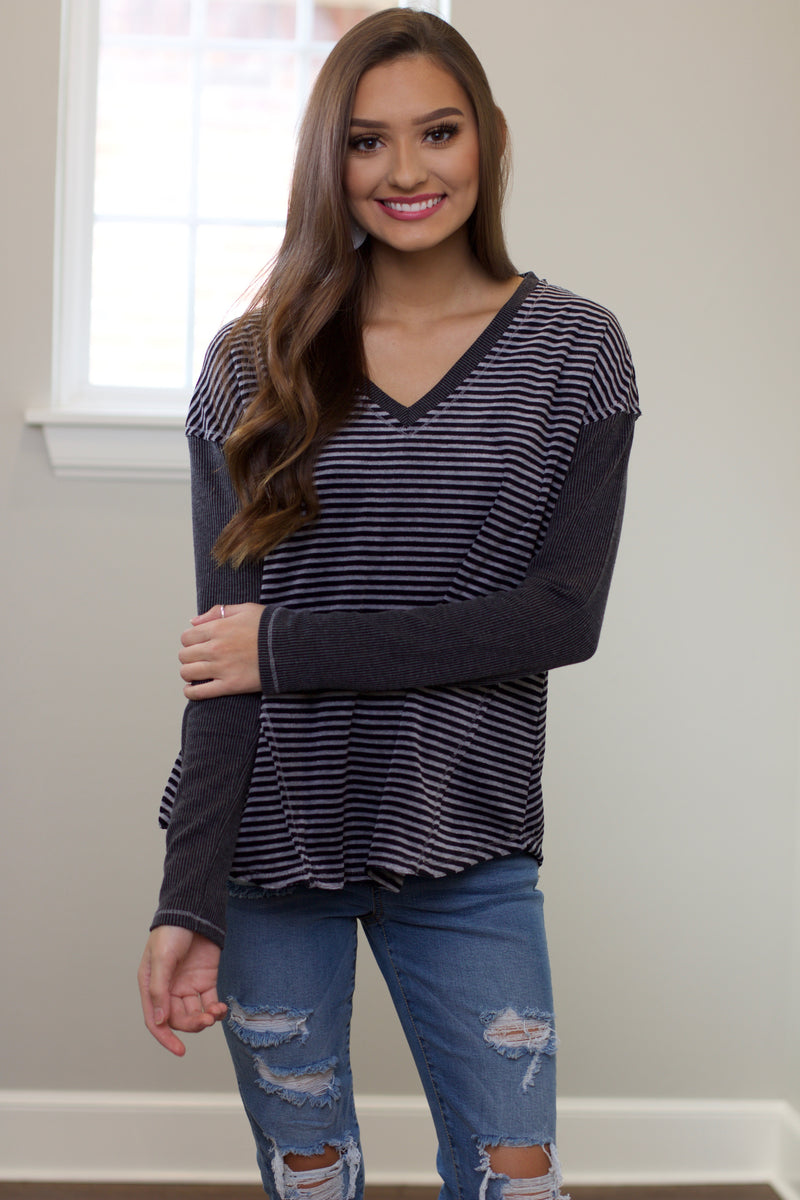 Darling Days Grey Striped Velvet Top