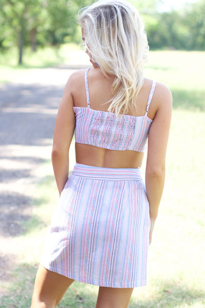 With Someone New Multi Color Stripe Crop Top