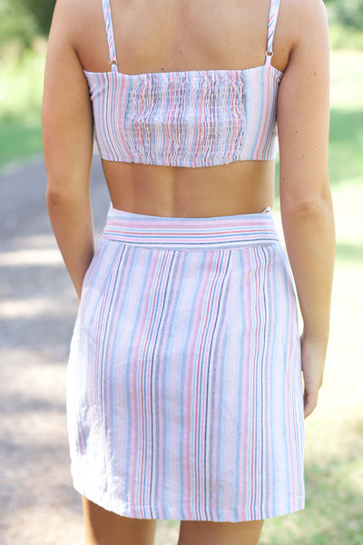 With Someone New Multi Color Stripe Skirt
