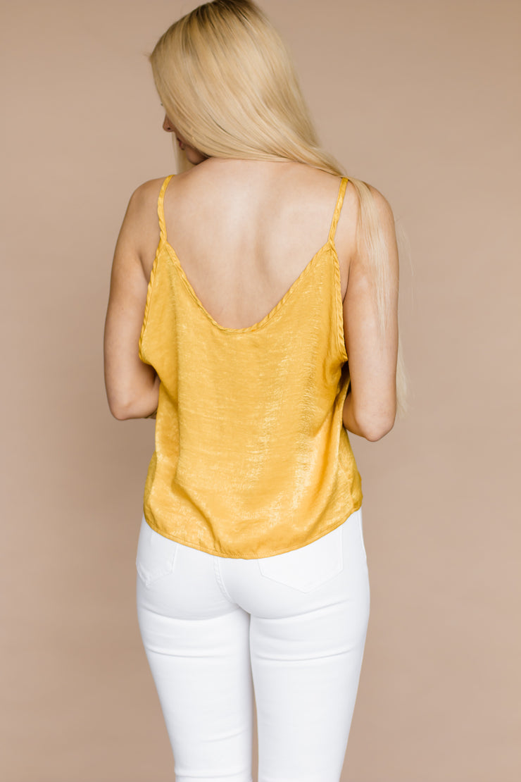 Call On Me Mustard Button Up Tie Up Tank Top