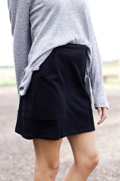 Raise Your Voice Black Pocket Skirt