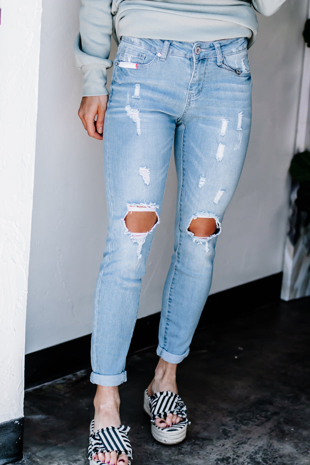 PRE ORDER Find Me In LA Light Distressed Cuffed Denim Jeans