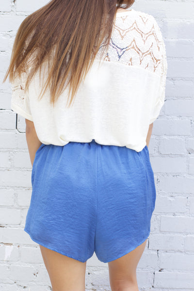 Blue Solid Satin Tulip Shorts With Waist Tie