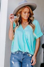 The Way Love Goes Blue Mint V-Neck Top