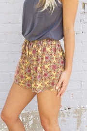 Mustard Geometric Flower Print Shorts