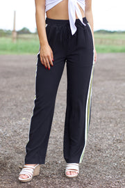 Hustle Harder Black Multi Stripe Detail Pants