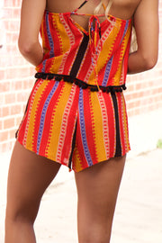 Red Multi Color Shorts With Drawstring
