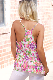 Pink & Purple Flower Razorback Tank Top With The Ruffle
