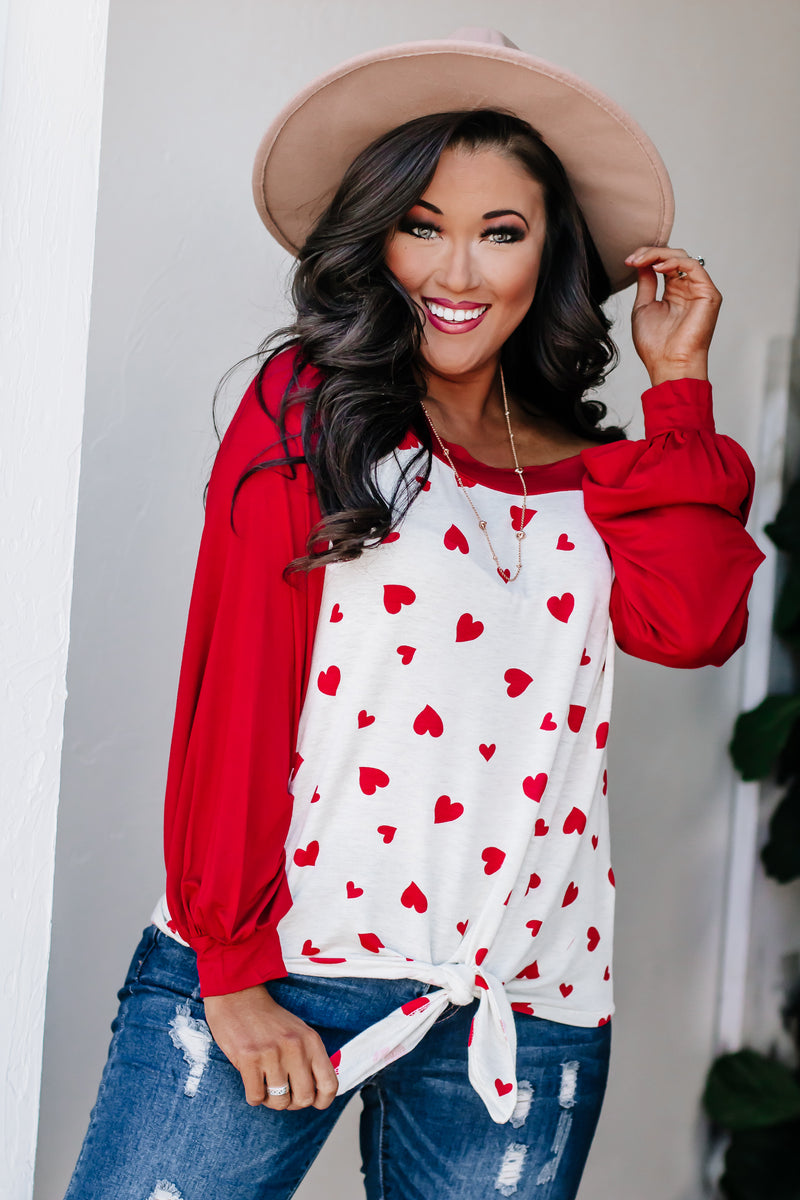 Exceptional You Red Color Block Long Sleeve Top