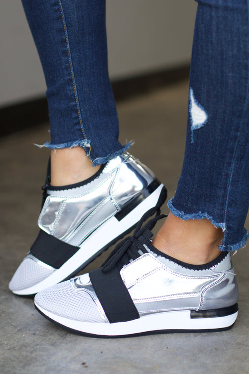 Oshton Silver Shiny Metal Lace Up Sneaker
