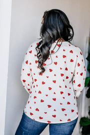 Kiss Goodbye White & Red Long Sleeve Top