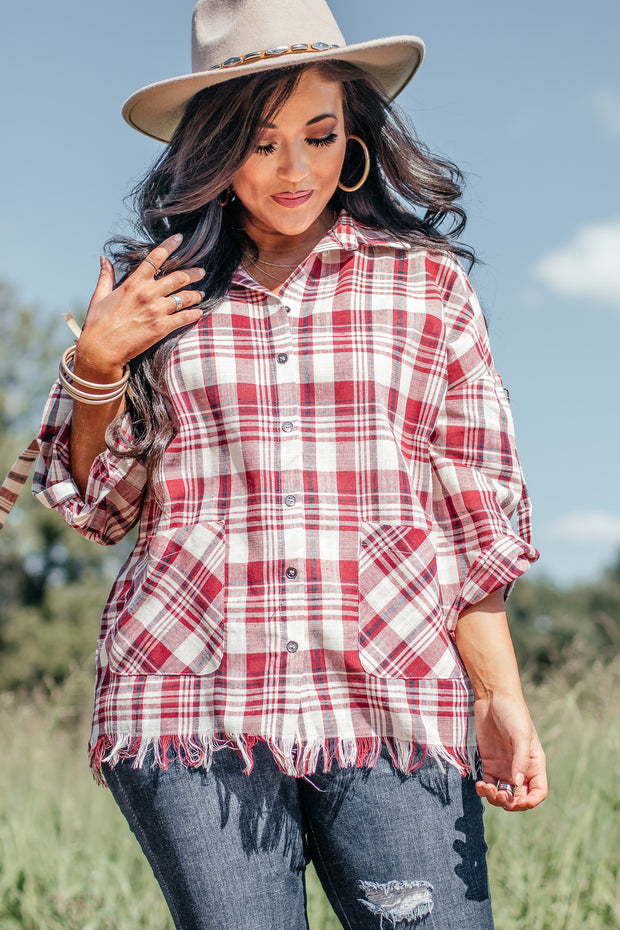 Eyes On The Prize Red Plaid Top