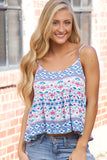 White & Royal Blue Aztec Print Tank Top