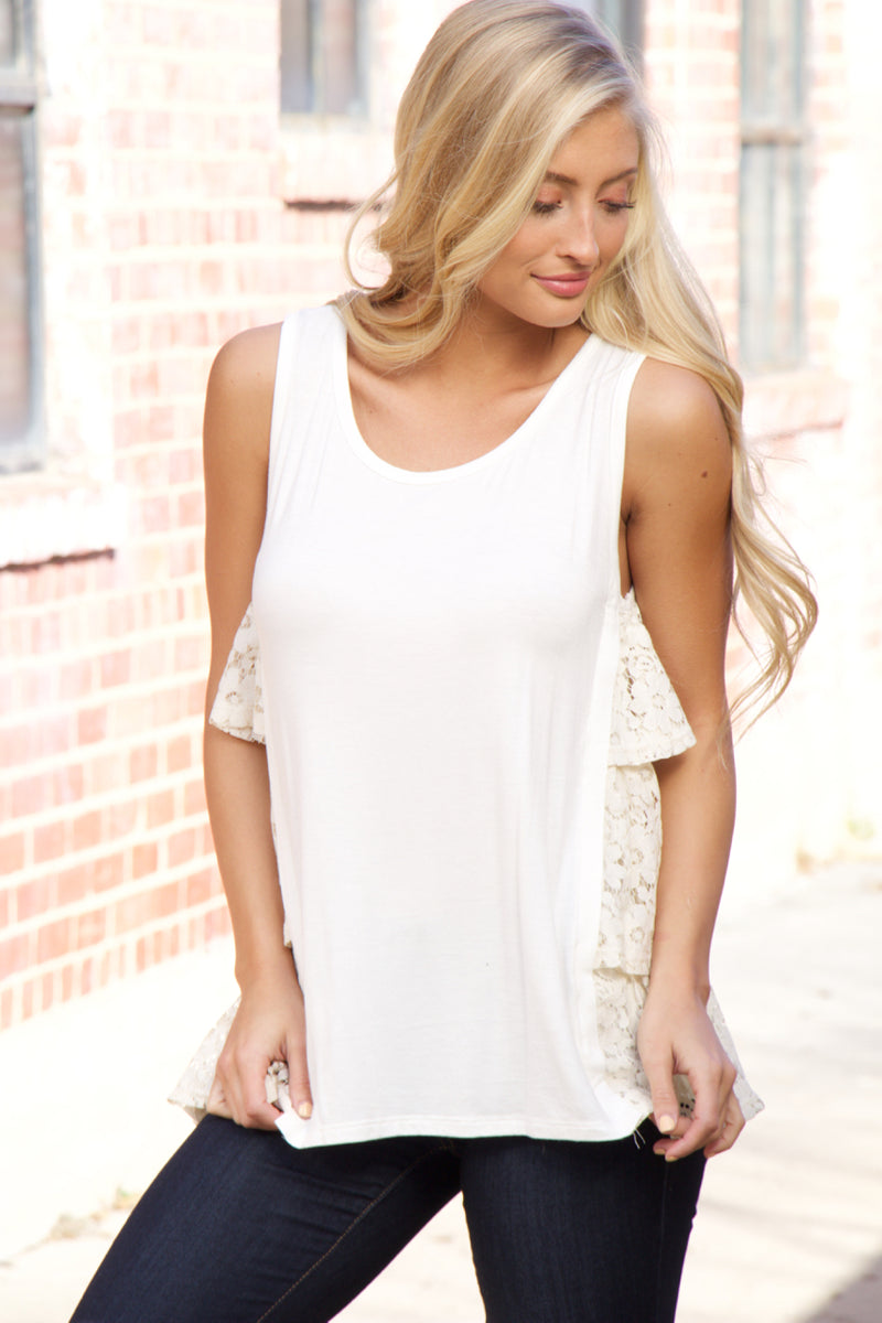 Ivory Layered Lace Top