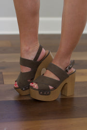 Boost Khaki Suede Open Toed Slingback Sandals