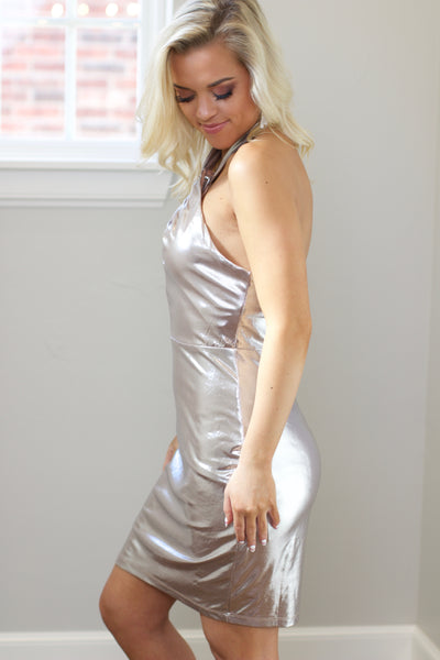 Taupe Knit Metallic Crossover Haltar Bodycon Dress