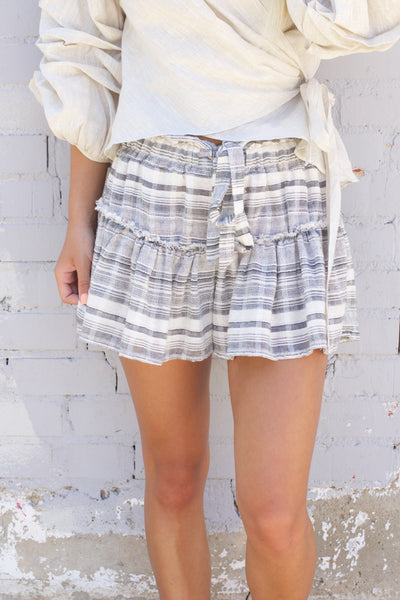 Endless Summer Black Striped Ruffle Shorts