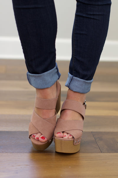Boost Dark Blush Suede Open Toed Slingback Sandals