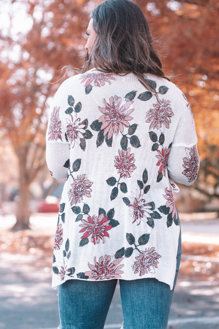 Changing Seasons Cream Floral Hi-Lo Sweater