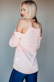 Following The Trend Dusty Pink Cold Shoulder Top