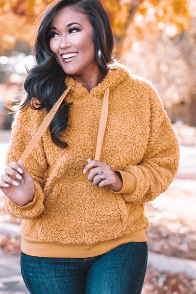 True To You Mustard Sherpa Pullover