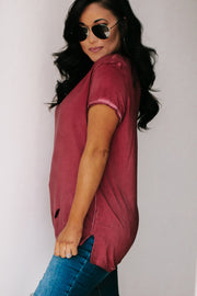 Be Yourself Burgundy Short Sleeve Top