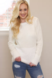 Toast To Life Cream Fur Trimmed Sweater